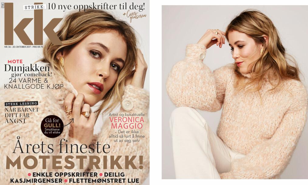STRIKKEOPPSKRIFT: Slik lager du den fantastiske cover-genseren Annabel lagde sammen med moren sin. Foto: Janne Rugland