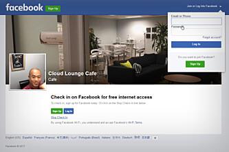 <strong>SJEKK INN, LOGG INN:</strong> Facebook Wifi fungerer sånn at brukerne må sjekke eller logge seg inn på Facebook for å bruke det trådløse nettet. Dermed skjer det også en utlevering av data til Facebook, som Datatilsynet mener de ikk har lov til. Skjermdump: Youtube/NETGEARChannel