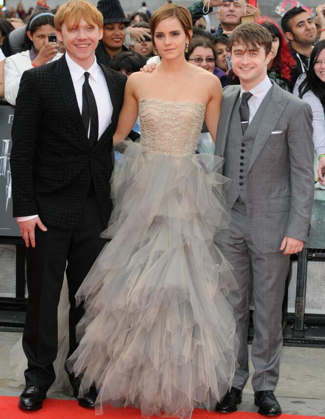 <strong>LENGE SIDEN:</strong> Det har gått over seks år siden Rupert Grint, Emma Watson og Daniel Radcliffe sto sammen på den røde løperen sist. Her under verdenspremieren på den siste «Harry Potter»-filmen i London sommeren 2011. Foto: NTB scanpix