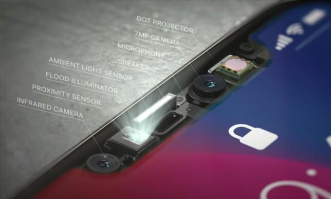 MYE TEKNOLOGI: Slik er Apples Trudepth-løsning bygd opp. Foto: Apple