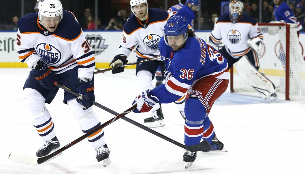 <strong>ASSIST:</strong> Mats Zuccarello vartet opp med en assist, men Rangers tapte likevel mot Blackhawks i natt. Foto: Noah K. Murray-USA TODAY Sports