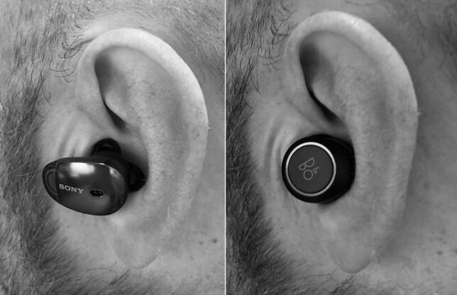 UTEN EN TRÅD: Sony WF-1000X (til venstre) og Beoplay E8 (til høyre) er begge trådløse ørepropper i ordets rette forstand. Som du ser er Beoplay E8 litt mer diskrete i øret. Foto: Pål Joakim Pollen