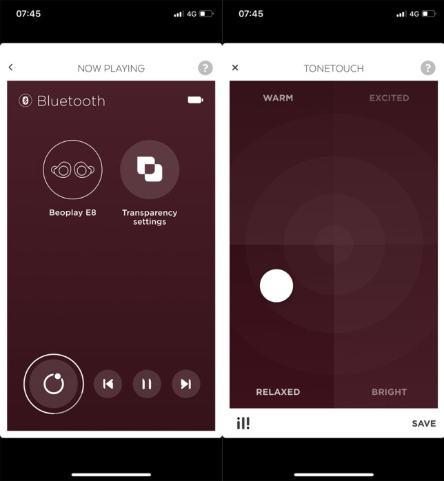Beoplays app lar deg dra en sirkel rundt i et «koordinatsystem» for å tilpasse lyden slik du vil ha den. Skjermdump: Pål Joakim Pollen