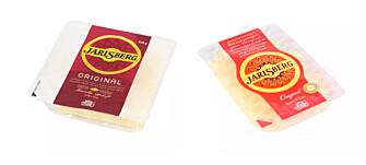 <strong>JARLSBERG:</strong> Store skiver i 250g-pakke koster 128,80 kroner kiloet, mens mindre skiver i pakker på 120 gram koster 249,7 kroner kiloet på Kiwi. Foto: Produsenten