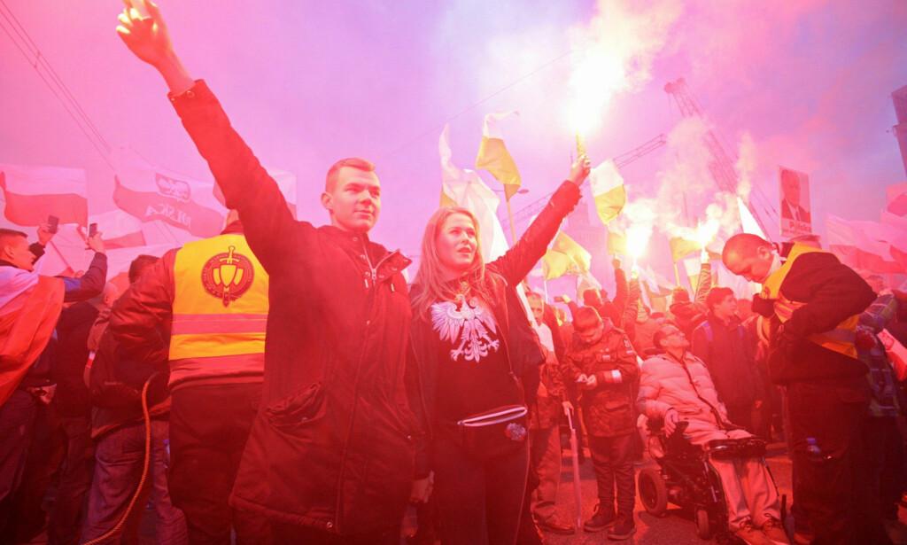 Fra nasjonalistmarsjen lørdag. Foto: Reuters /NTB Scanpix