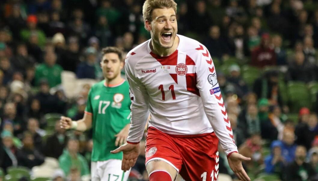 <strong>SCORET:</strong> Nicklas Bendtner har fått en ny vår i Rosenborg. Tirsdag scoret han også da Danmark tok seg til VM. Foto: AFP PHOTO / Paul FAITH