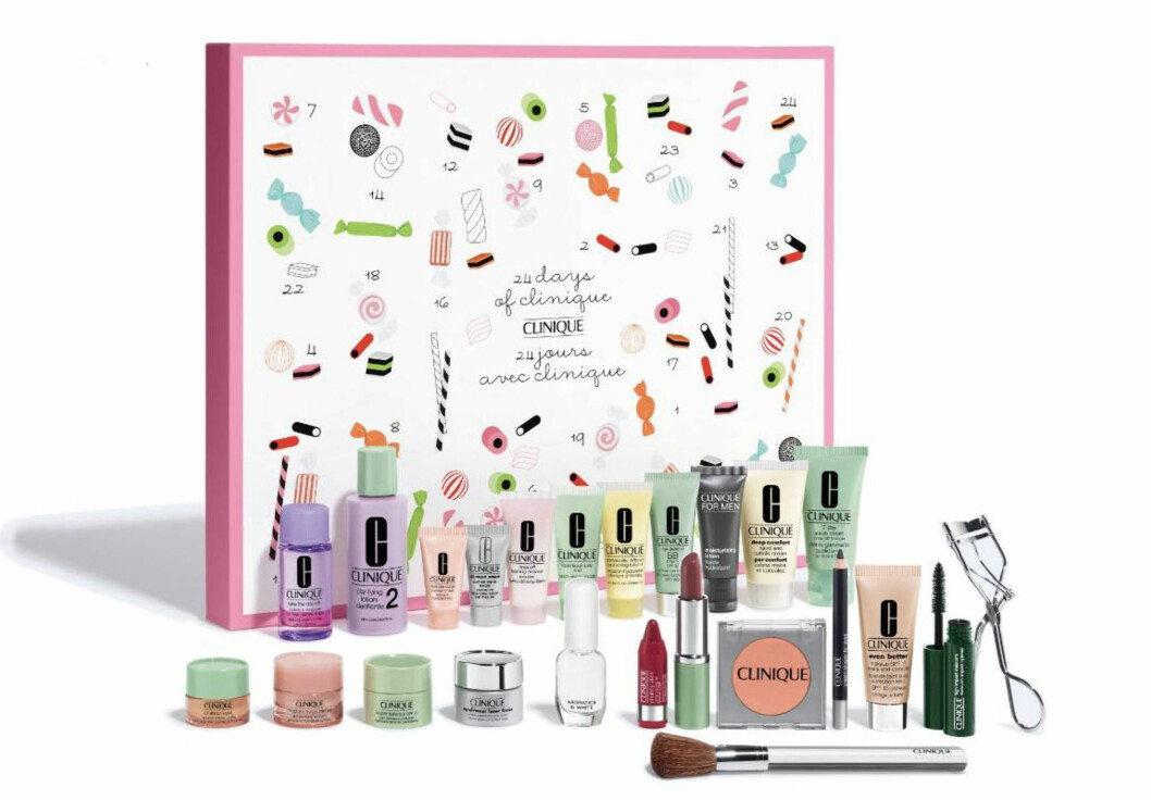 Adventskalender fra Clinique |1350,-| https://www.clinique.com.au/product/13566/53768/holiday/all-gifts/advent-calendar-24-days-of-clinique/holiday-set-2017