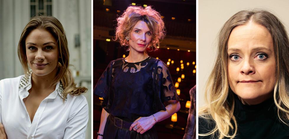 TAR ET OPPGJØR: Jenny Skavlan, Herborg Kråkevik og Henriette Steenstrup er blant de 487 norske kvinnelige skuespillerne som tar et oppgjør med seksuell trakassering i bransjen. Foto: NTB Scanpix