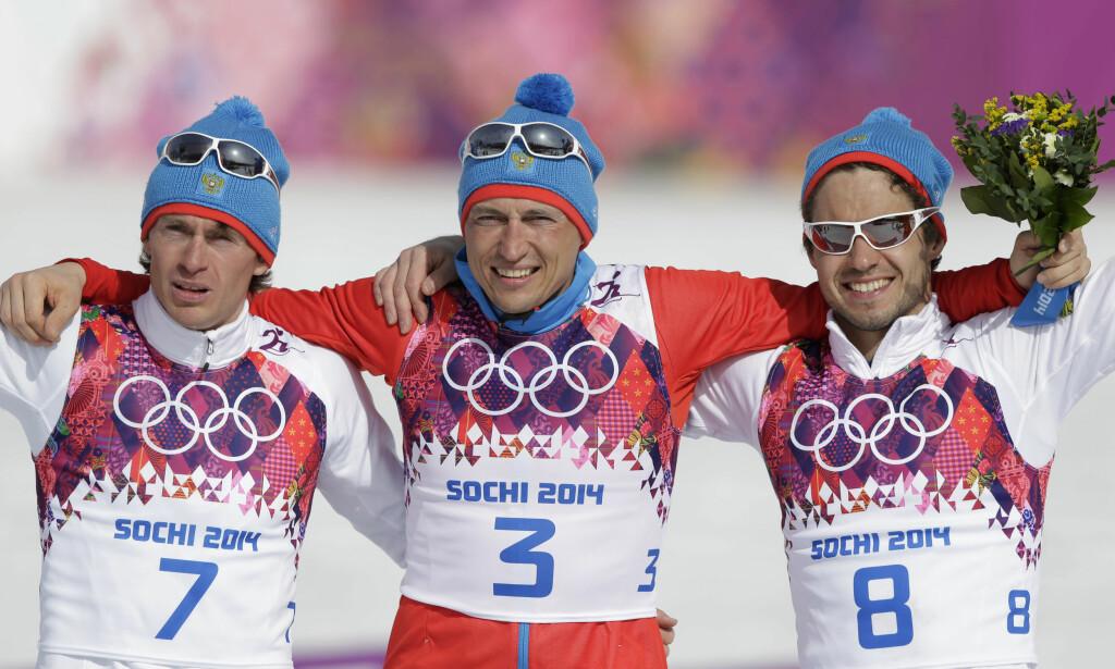 TILBAKE: Maksim Vylegzjanin og Aleksander Legkov har vært utestengt helt siden sesongstarten og fikk aldri komme til OL. I Holmenkollen i helga er Vylegzjanin tilbake. Legkov og Sergej Ustjugov kommer imidlertid ikke til Oslo. Foto: NTB Scanpix