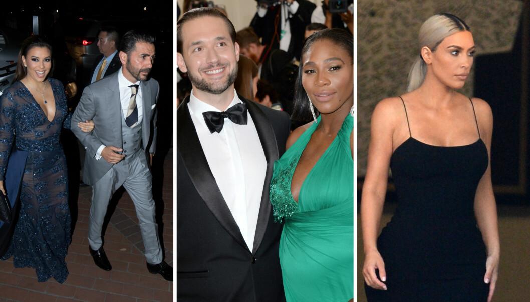CELEBERT BRYLLUP: Superstjerner som Eva Longoria og Kim Kardashian var blant gjestene i bryllupet til Serena Williams og Alexis Ohanian (midten) torsdag kveld. Foto: Splash News/ NTB scanpix