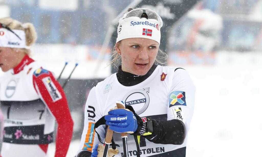 BLE BEROLIGET: Maiken Caspersen Falla har slitt med kroppen de to siste månedene, men i dag var hun tilbake på vinnersporet. Foto: Terje Pedersen / NTB Scanpix