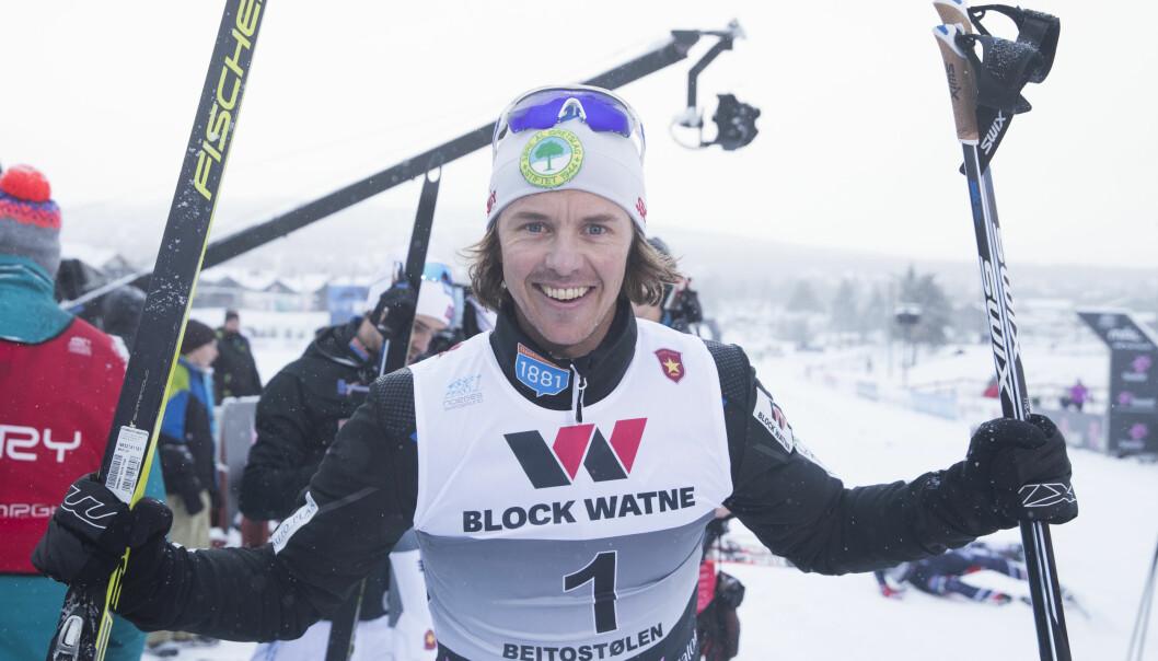 <strong>VANT IGJEN:</strong> Mikko Kokslien kunne juble for et nytt NM-gull på Beitostølen søndag. Foto: Terje Pedersen / NTB scanpix