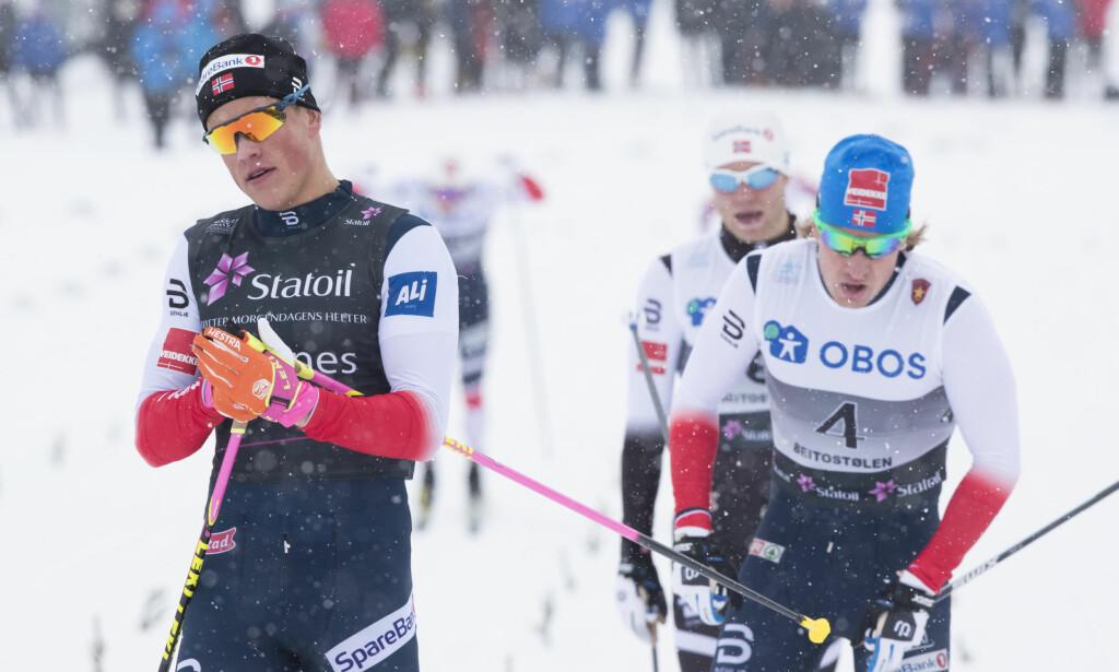 SKAL FINSTUDERES: Johannes Høsflot Klæbo vant sprinten foran Kasper Stadaas og Eirik Brandsdal. Nå skal landslagsløperne gå gjennom GPS-målingene av Klæbo for å lære av sprintfenomenet. Foto: Terje Pedersen / NTB Scanpix