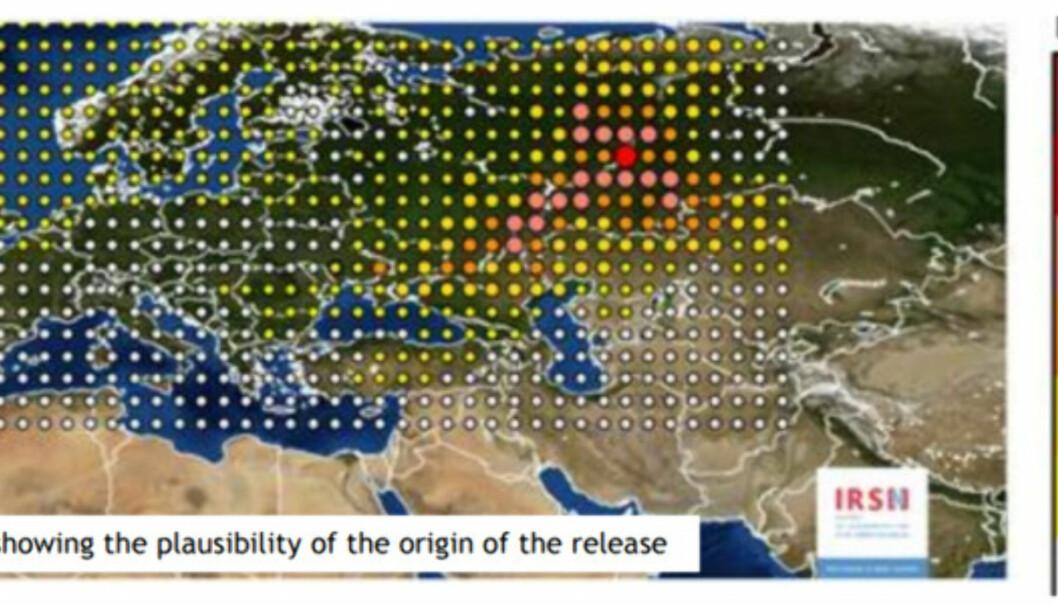 <strong>UTSLIPP:</strong> Kartet viser hvor utslippet mest trolig har kommet fra. Kart: IRSN