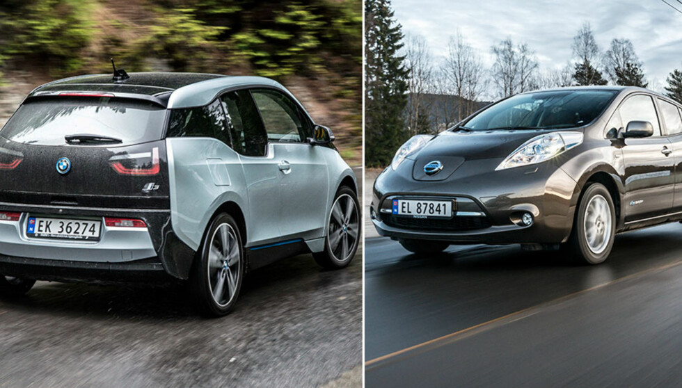 ELEKTRISK BRUKTDUELL: BMW i3 (t.v) og Nissan Leaf er to populære elbiler som er ettertraktet på bruktmarkedet. Vi har testet de mot hverandre, og valgt vår favoritt. Foto: Jamieson Pothecary