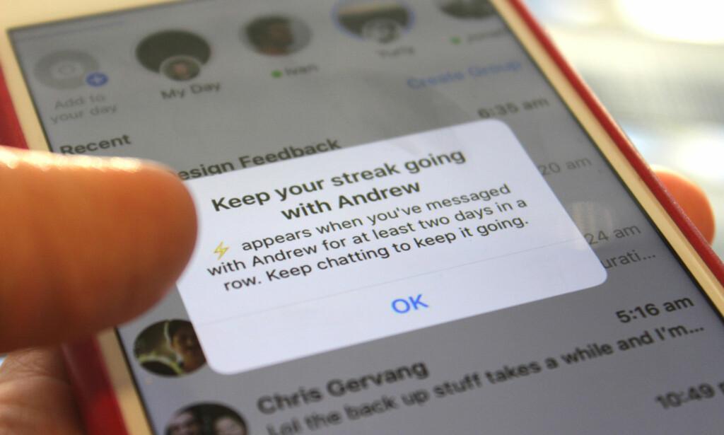 NYTT I MESSENGER: Facebook har begynt å teste ut en ny funksjon i Messenger som oppfordrer deg til å ikke slutte å chatte med vennene dine - eller rett og slett å bruke Messenger mer. Foto: Kirsti Østvang
