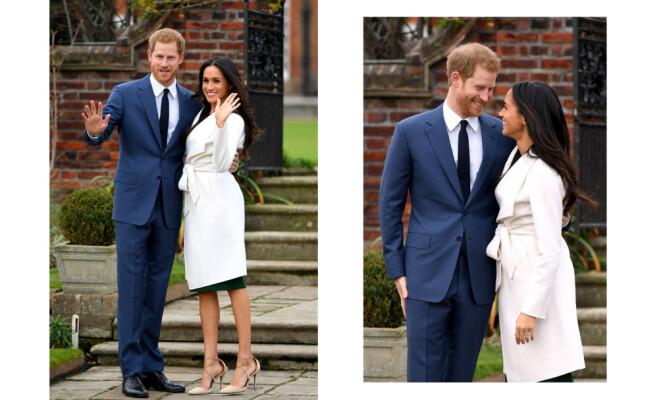 LYKKELIGE: Prins Harry fortalte pressen at han visste allerede første gang han møtte den amerikanske skuespilleren Meghan Markle at hun var den rette for ham. Her er de fotografert ved The Sunken Garden utenfor Kensington Palace. Foto: NTB Scanpix