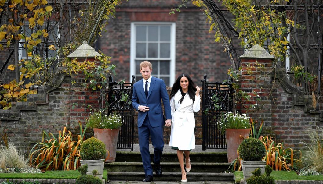 FORLOVET: Prins Harry og Meghan Markle møter pressen for første gang etter forlovelsen. Foto: Scanpix
