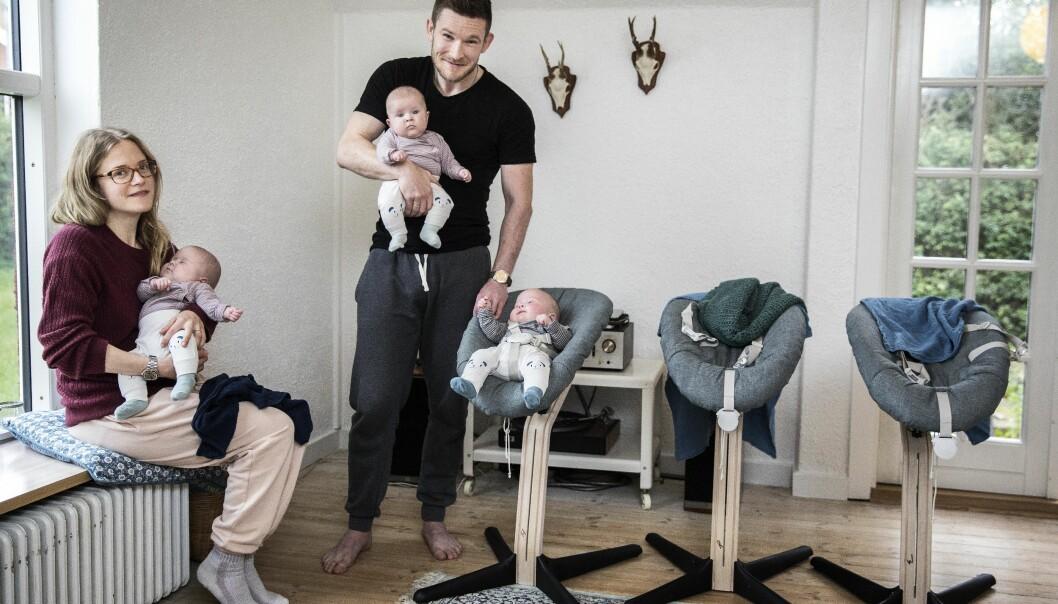 <strong>TRILLINGER:</strong> Petra og Mads hadde nesten gitt opp håpet om å bli foreldre. Så fikk de høre tre bankende hjerter på ultralyden. FOTO: Niels Hougaard