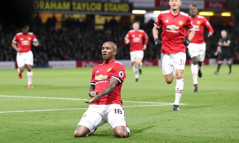 <strong>TOMÅLSSCORER:</strong> Ashley Young scoret for første gang i Premier League siden 15/16-sesongen. Foto: Andrew Matthews / Pa Photos / NTB Scanpix.