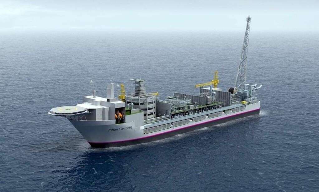 CASTBERG: Slik skal Statoils flytende produksjonsskip på Johan Castberg-feltet se ut. Illustrasjon: Statoil