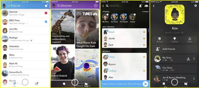 <strong>PROFILBILDE:</strong> På skjermbildet helt til venstre kan du se hvordan den nye vennelista ser ut. Foto: Snapchat/AP/NTB Scanpix