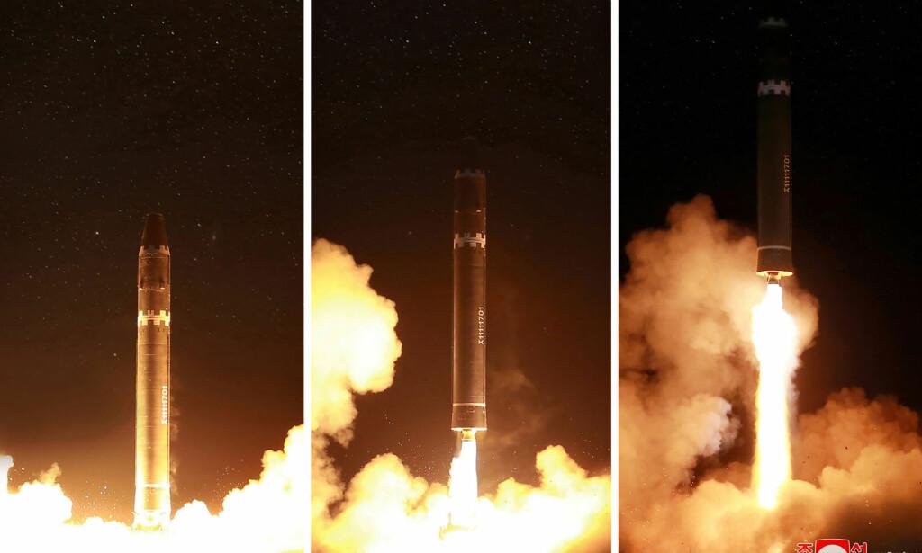 OPPSKYTING: - Hwasong-15 er et interkontinentalt missil. Bildene er fra da det ble skutt opp tirsdag denne uka. Foto: KCNA /AFP