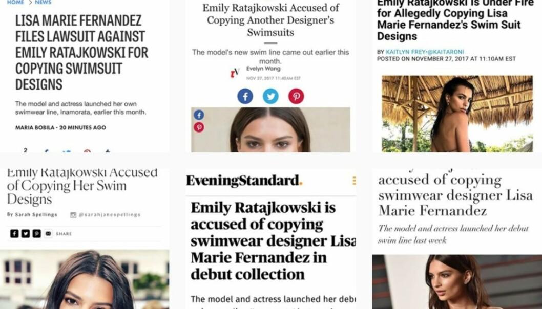 <strong>PÅ INSTAGRAM:</strong> Badetøysdesigner Lisa Marie Fernandez deler medienes omtaler rundt saken og kaller Ratajkowski for en bedrager. Foto: Skjermdump fra Instagram