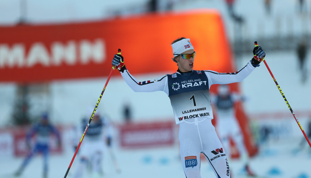 <strong>JUBEL:</strong> Espen Andersen jublet for seier i Lillehammer. Foto: Geir Olsen / NTB scanpix