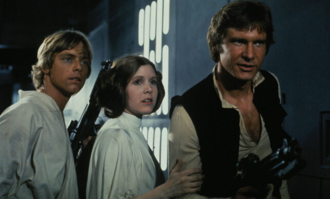 «STAR WARS»: Mark Hamill, Carrie Fisher og Harrison Ford i en «Star Wars»-film fra 1977. Foto: Lucas Film_20th Century Fox/Shooting Star, NTB scanpix