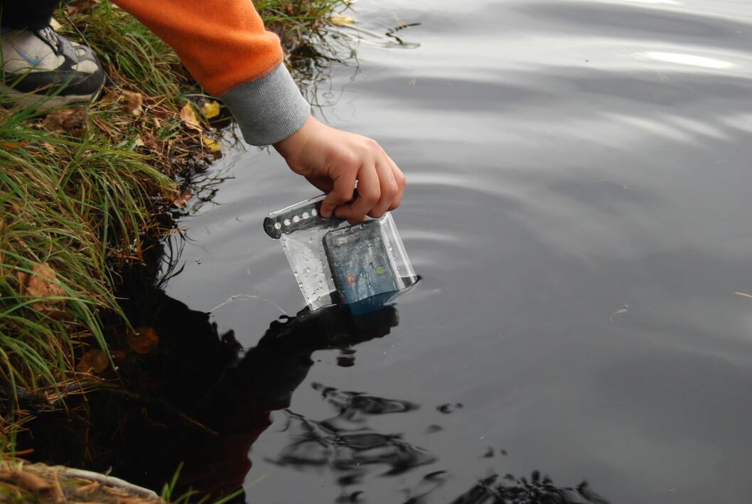 <strong>NERVØSE</strong> Ville du tatt sjansen på å la et barn senke ned iPhonen din ned i et vann?  Foto: Thomas Strzelecki