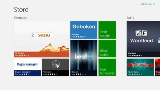 <strong>SKAL VI SJÅ:</strong> App-butikken i Windows RT har endel norske apper, men det mangler mye.  Foto: Ole Petter Baugerød Stokke