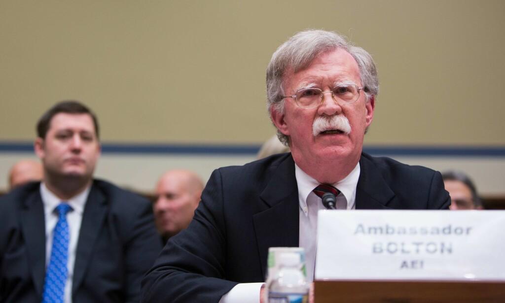 KRIGSHAUK: USAs tidligere FN-ambassadør, John Bolton, er kjent som en krigshauk som ikk er redd for å si hva han mener. Foto: Tasos Katopodis/Getty Images/AFP/NTB Scanpix