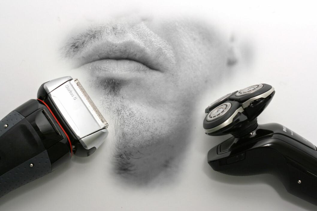 <strong><B>DUELL:</strong></B> Dette bildet er litt ubehagelig å se på, men det er langt fra ubehagelig å barbere seg med Philips RQ1250 og Braun 5050cc. Det betyr ikke at de to barbermaskin-duellantene ikke har problemer. Foto: Øivind Idsø