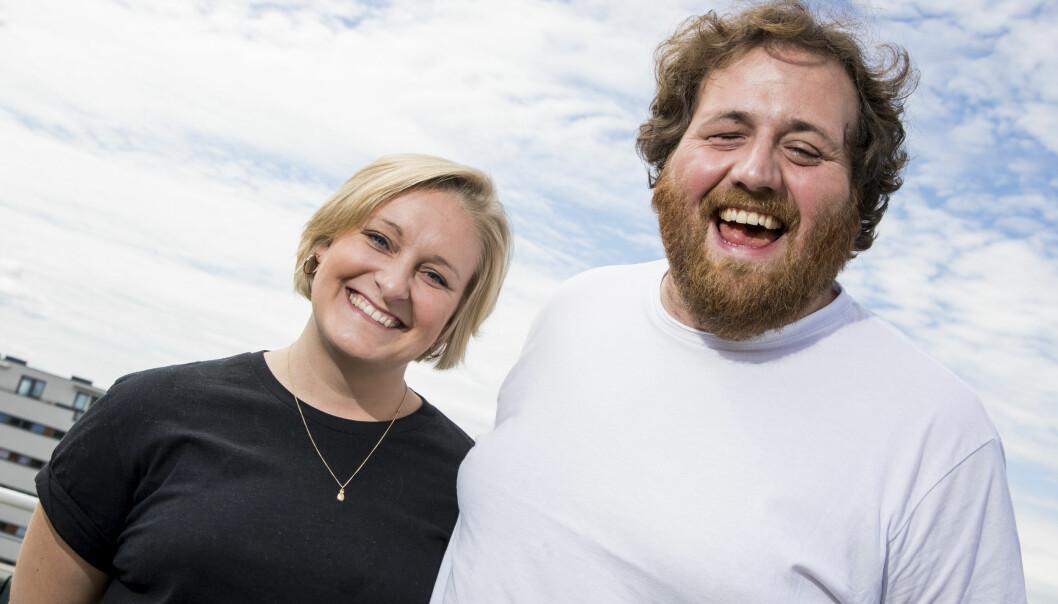 <strong>BLIR SAMBOERE:</strong> P3-programlederne Tuva Fellman og Ronny Brede Aase blir samboere i Oslo etter fem år i avstandsforhold. Her var paret under NRKs presentasjon av høstens TV-programmer i sommer. Foto: Håkon Mosvold Larsen / NTB scanpix