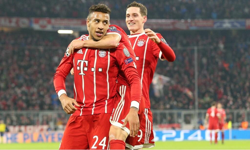STERK SEIER: Bayern München viser at de fortsatt har planer om å henge med helt i toppen. Her feirer Corentin Tolisso scoring. Foto: Pixathlon/REX/Shutterstock