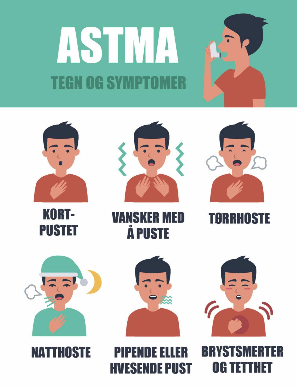 TYPISKE SYMPTOMER PÅ ASTMA: Hoste, kortpusthet og tetthet.