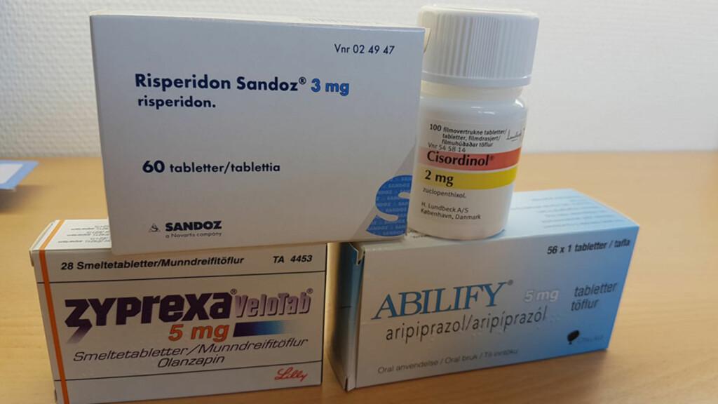 ANTIPSYKOTISKE LEGEMIDLER: Risperidon, Cisordinol, Zyprexa og Abilify er eksempler på antipsykotiske legemidler. Foto: Lommelegen.no