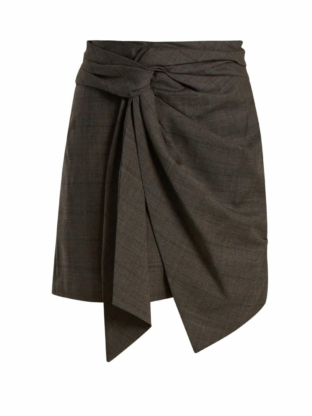 Skjørt fra Isabel Marant via Matchesfashion.com |1945,-| https://www.matchesfashion.com/intl/products/Isabel-Marant-%C3%89toile-Nima-knot-detail-checked-wool-mini-skirt--1165332