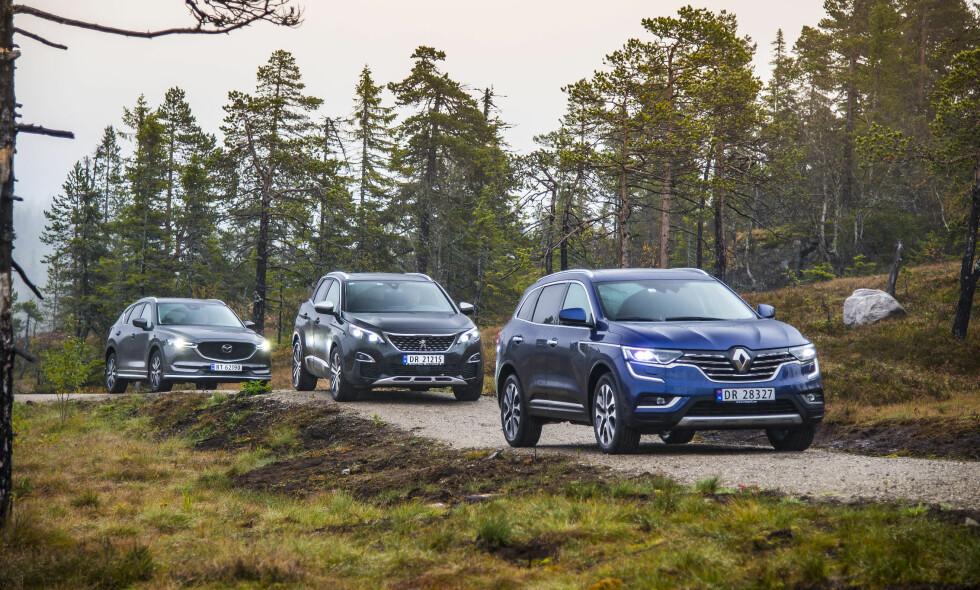 TRE TØFFE: Hele trekløveret er nytt i år. Peugeot har aldri bygget SUV før og Renault har aldri før solgt Koleos i Norge. Hvordan klarer de seg mot den nye versjonen av Mazda CX-5? Foto: Jamieson Pothecary