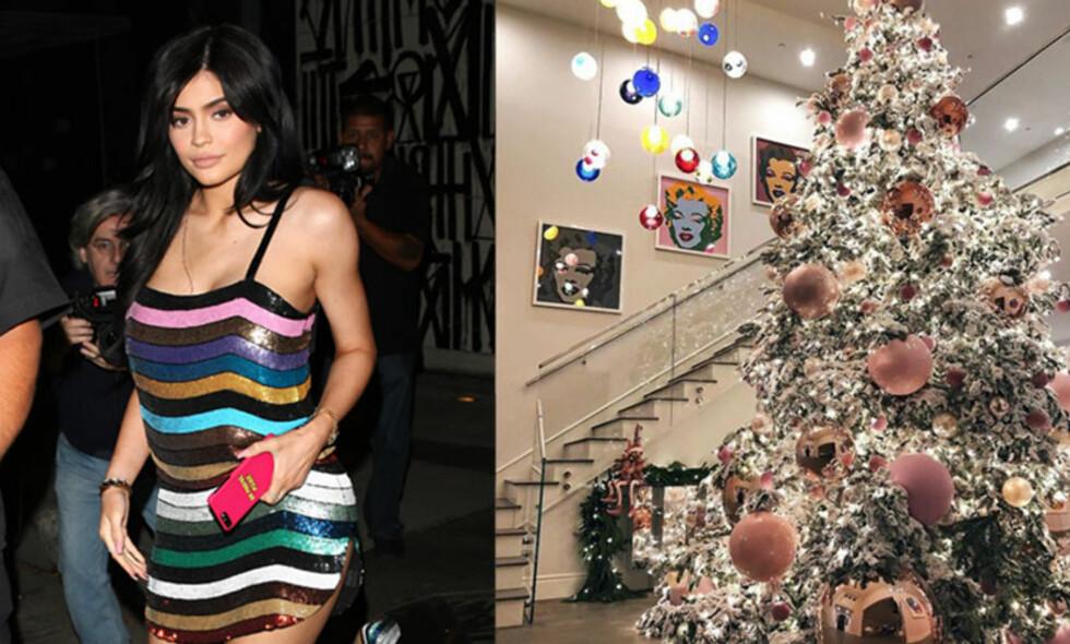 HINT: Juletreet til Kylie Jenner skaper spekulasjoner blant fansen. Flere tror hun hinter om kjønnet til hennes kommende baby. Foto: NTB Scanpic / Instagram
