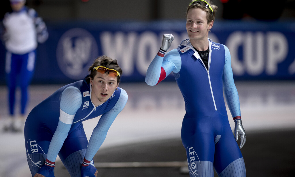 Stavanger  20171118. World cup skøyter i Stavanger. 1500m menn.  Allan Dahl Johansson og Sverre Lunde Pedersen (1.plass) (th) i Sørmarka arena. Foto: Carina Johansen / NTB Scanpix
