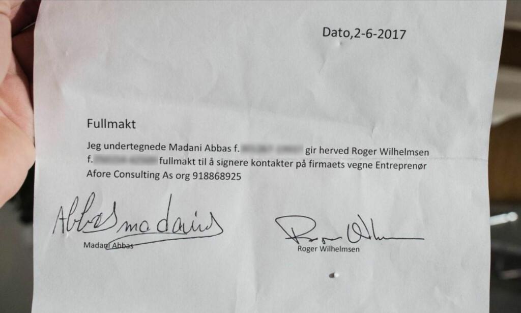 HAR PROKURA: Daglig leder Abbas Madani viser Dagbladet dokumentet som gir Roger Wilhelmsen rett til å inngå avtaler på vegne av Afore Consulting.
