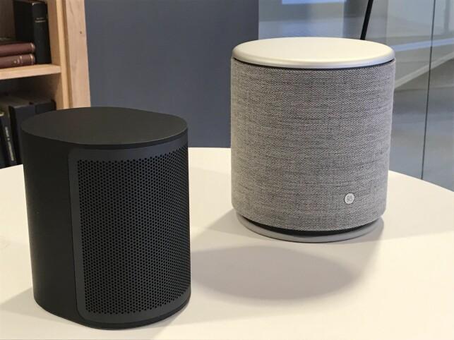 TOSPANN: BeoPLay M3 og M5 (til høyre) samarbeider både via B&Os eget flerroms-app og med Spotify og Google. Foto: Tore Neset