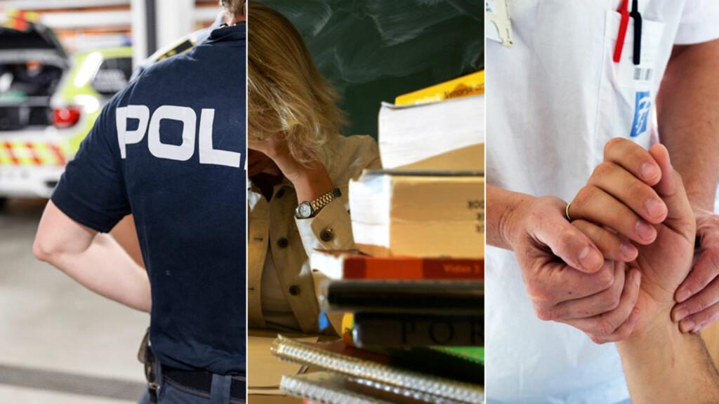 BELASTENDE YRKER: Utbrenthet er overrepresentert blant mennesker som jobber med andre mennesker, som for eksempel politi, lærere og sykepleiere. Foto: NTB Scanpix
