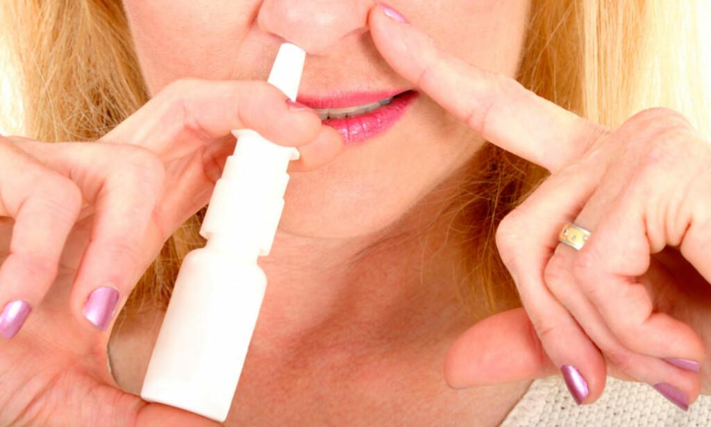 <b>REKORD: </b>Aldri før har folk kjøpt så mye nesespray som i 2017. Foto: NTB Scanpix