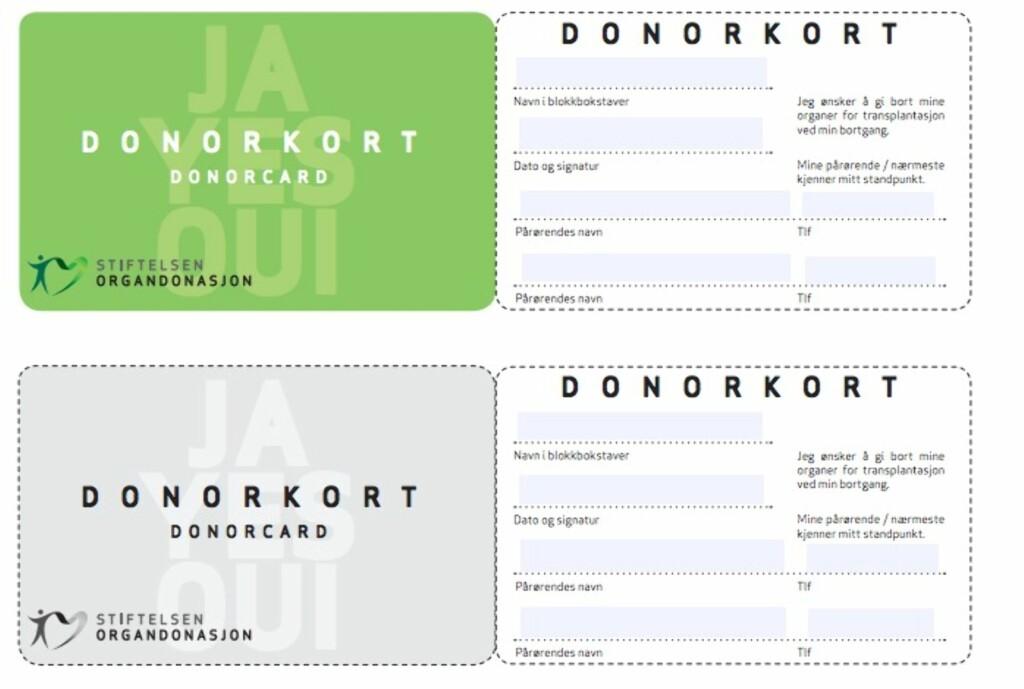 I dag er over 80 prosent av nordmenn positive til organdonasjon. Slik ser et donorkort ut. Foto: Stiftelsen Organdonasjon