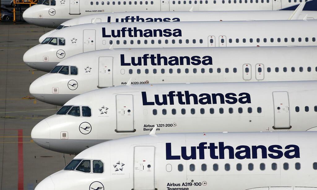 STREIK: Flyselskapet Lufthansa har kansellert over 800 flyginger tirsdag på grunn av en streik blant ansatte på tyske flyplasser. Foto: Michael Probst/AP/Scanpix