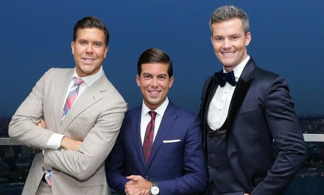 TV-STJERNER: Fredrik sammen med to av «Million Dollar Listing»-profilene, Luis D. Ortiz og Ryan Serhant. Foto: AFP