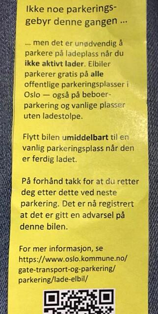 IKKE BOT: Slik så advarselen som ventet i frontruta til Petter Schønberg ut. Foto: Privat
